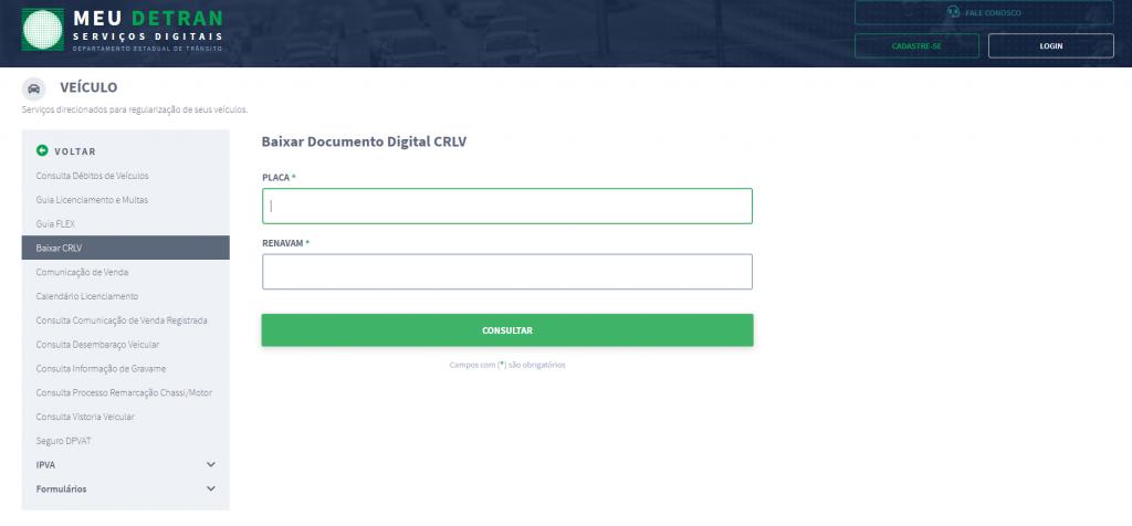 Logo após, o número e código do CRV (Certificado de Registro de Veículo), além de informar os caracteres de ativação: